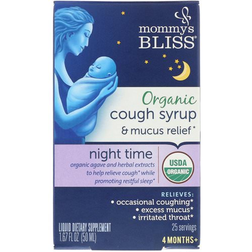 Mommy's Bliss, Organic, Cough Syrup & Mucus Relief, Night Time, 4 Months +, 1.67 fl oz (50 ml) فوائد