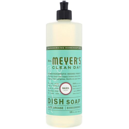 Mrs. Meyers Clean Day, Dish Soap, Basil Scent, 16 fl oz (473 ml) فوائد