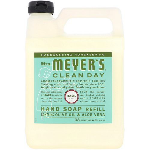 Mrs. Meyers Clean Day, Liquid Hand Soap Refill, Basil Scent, 33 fl oz (975 ml) فوائد