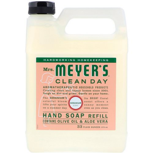 Mrs. Meyers Clean Day, Liquid Hand Soap Refill, Geranium Scent, 33 fl oz (975 ml) فوائد