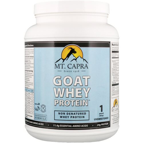 Mt. Capra, Goat Whey Protein, Unsweetened, 1 Pound (453 g) فوائد