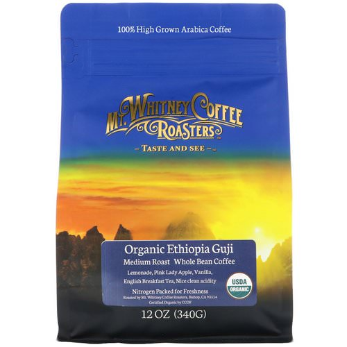 Mt. Whitney Coffee Roasters, Organic Ethiopia Guji, Medium Roast, Whole Bean Coffee, 12 oz (340 g) فوائد