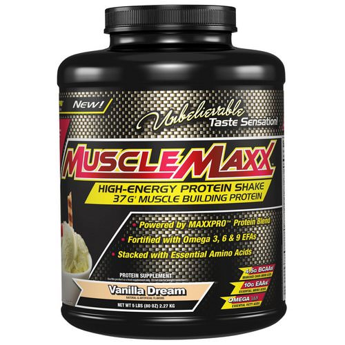MuscleMaxx, High Energy + Muscle Building Protein, Vanilla Dream, 5 lb (2.27 kg) فوائد