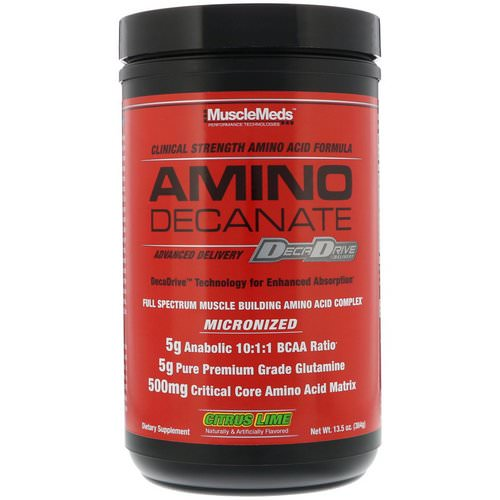 MuscleMeds, Amino Decanate, Citrus Lime, 13.5 oz (384 g) فوائد