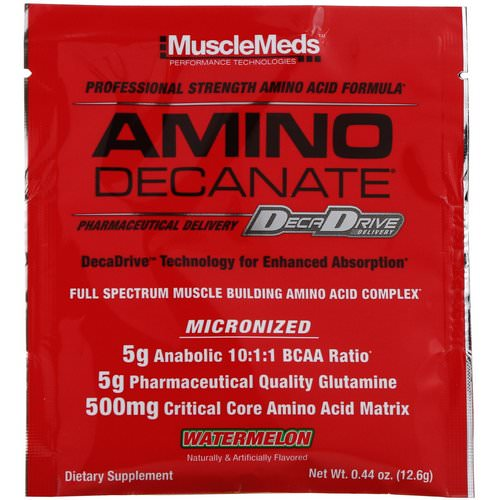MuscleMeds, Amino Decanate, Watermelon, 0.44 oz (12.6 g) فوائد