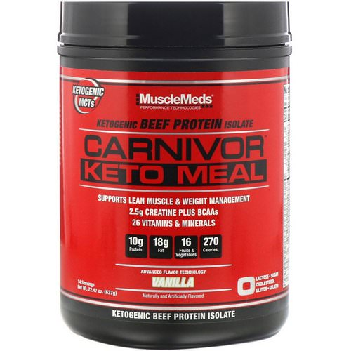 MuscleMeds, Carnivor, Keto Meal, Ketogenic Beef Protein Isolate, Vanilla, 22.47 oz (637 g) فوائد