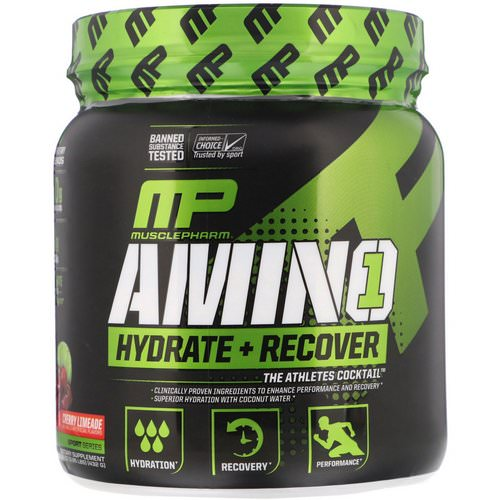 MusclePharm, Amino 1, Hydrate + Recover, Cherry Limeade, 15.24 oz (432 g) فوائد