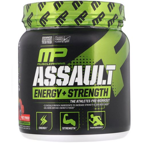 MusclePharm, Assault, Energy + Strength, Pre-Workout, Fruit Punch, 12.17 oz (345 g) فوائد