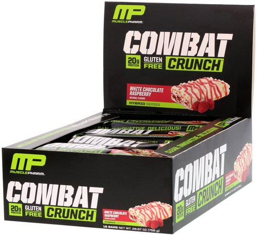 MusclePharm, Combat Crunch, White Chocolate Raspberry, 12 Bars, 2.22 oz (63 g) Each فوائد