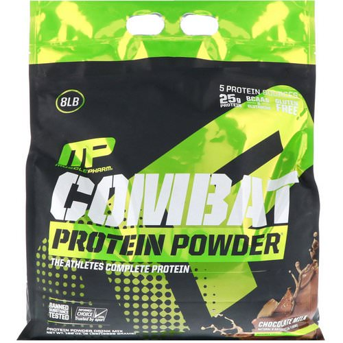 MusclePharm, Combat Protein Powder, Chocolate Milk, 8 lbs (3629 g) فوائد