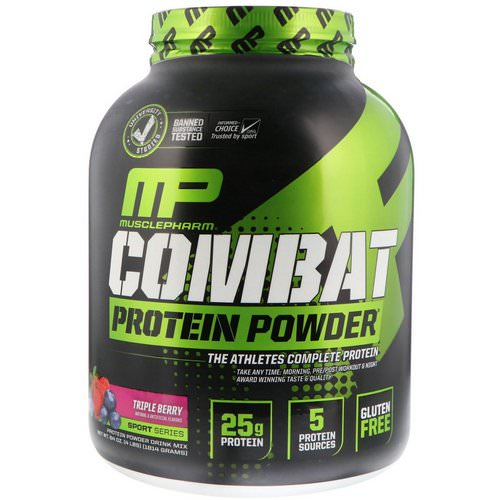 MusclePharm, Combat Protein Powder, Triple Berry, 4 lbs (1814 g) فوائد