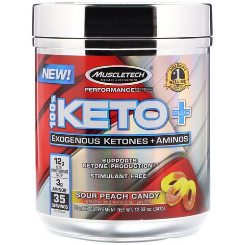 Muscletech, 100% Keto Plus, Exogenous Ketones + Aminos, Sour Peach Candy, 12.03 oz (341 g) فوائد