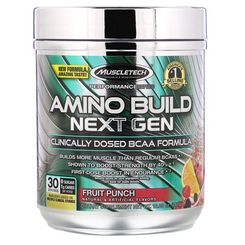 Muscletech, Amino Build, Next Gen BCAA Formula, Fruit Punch, 10.00 oz (284 g) فوائد
