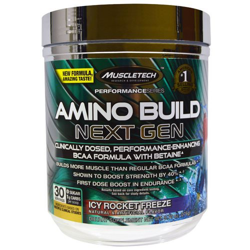 Muscletech, Amino Build, Next Gen BCAA Formula With Betaine Icy Rocket Freeze, 9.73 oz (276 g) فوائد
