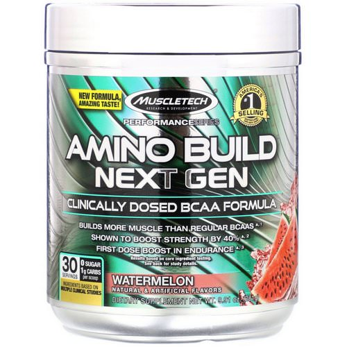 Muscletech, Amino Build, Next Gen BCAA Formula, Watermelon, 9.91 oz (281 g) فوائد