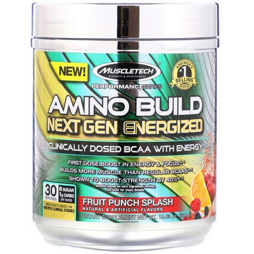 Muscletech, Amino Build, Next Gen Energized BCAA, Fruit Punch Splash, 10.03 oz (284 g) فوائد