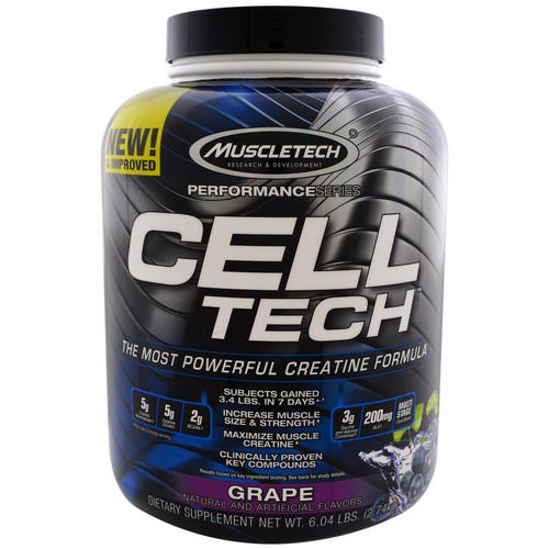 Muscletech, Cell Tech, The Most Powerful Creatine Formula, Grape, 6.04 lbs (2.74 kg) فوائد