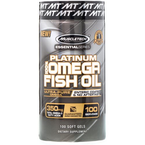 Muscletech, Essential Series, Platinum 100% Omega Fish Oil, 100 Soft Gels فوائد