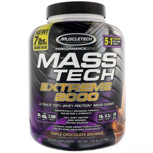 Muscletech, Mass Tech Extreme 2000, Triple Chocolate Brownie, 7.00 lb (3.18 kg) فوائد