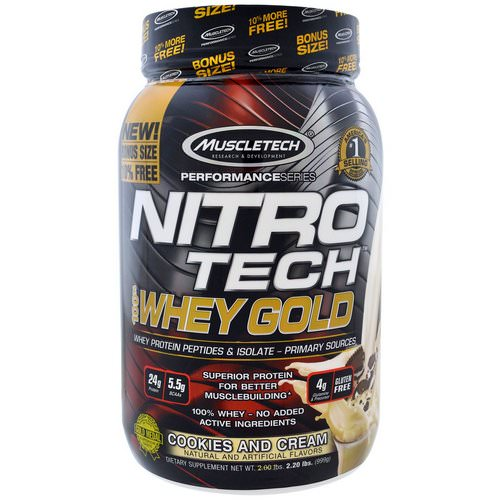 Muscletech, Nitro Tech, 100% Whey Gold, Cookies And Cream, 2.20 lbs (999 g) فوائد