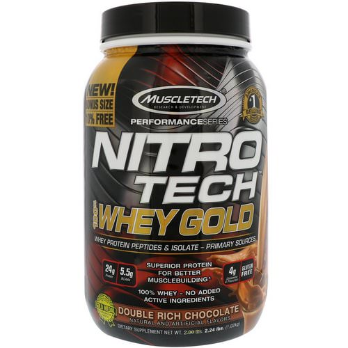 Muscletech, Nitro Tech, 100% Whey Gold, Double Rich Chocolate, 2.24 lbs (1.02 kg) فوائد
