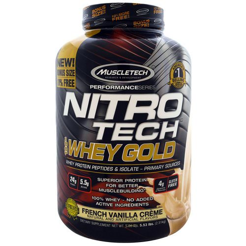 Muscletech, Nitro Tech, 100% Whey Gold, French Vanilla Creme, 5.53 lbs. (2.51 kg) فوائد