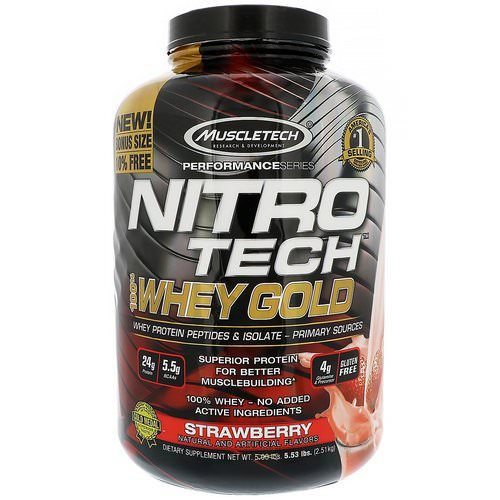 Muscletech, Nitro Tech 100% Whey Gold, Strawberry, 5.53 lbs (2.51 kg) فوائد
