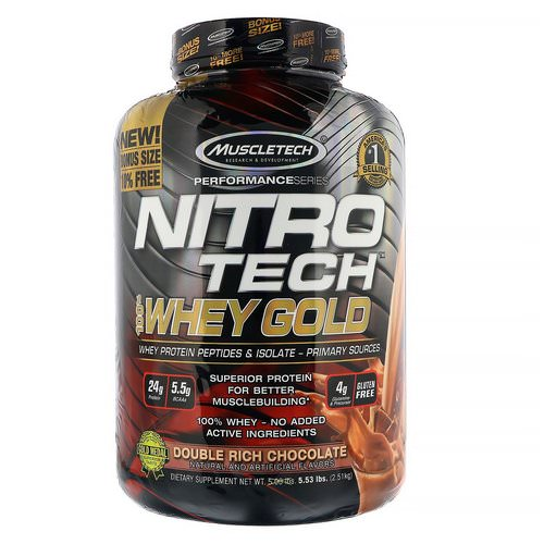 Muscletech, Nitro Tech, 100% Whey Gold, Whey Protein Powder, Double Rich Chocolate, 5.53 lbs (2.51 kg) فوائد
