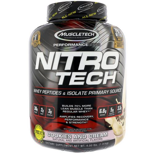 Muscletech, Nitro Tech, Whey Isolate + Lean Musclebuilder, Cookies and Cream, 3.97 lbs (1.80 kg) فوائد