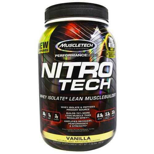 Muscletech, Nitro Tech, Whey Isolate + Lean MuscleBuilder, Vanilla, 2.00 lbs (907 g) فوائد