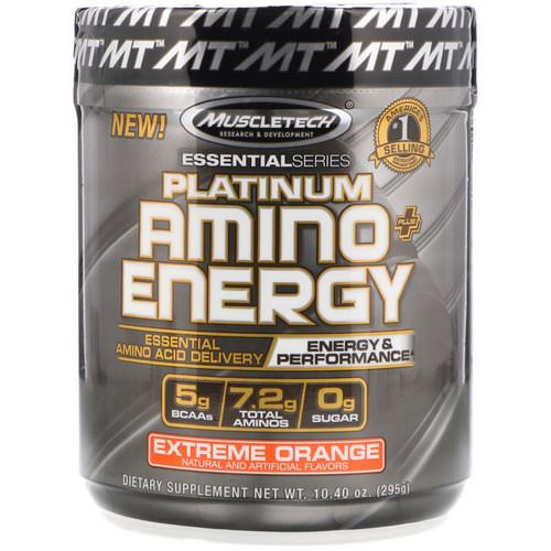 Muscletech, Platinum Amino Plus Energy, Extreme Orange, 10.40 oz (295 g) فوائد