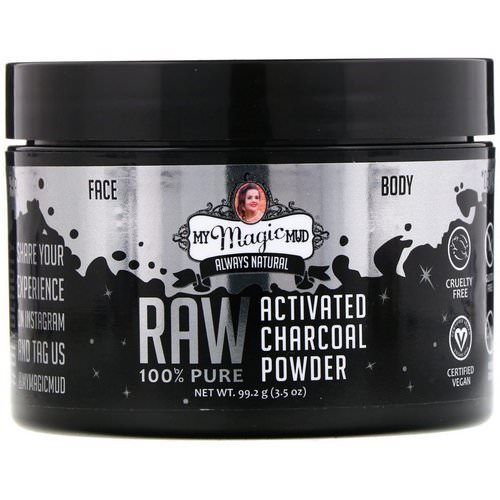My Magic Mud, Raw 100% Pure, Activated Charcoal Powder, 3.5 oz (99.2 g) فوائد