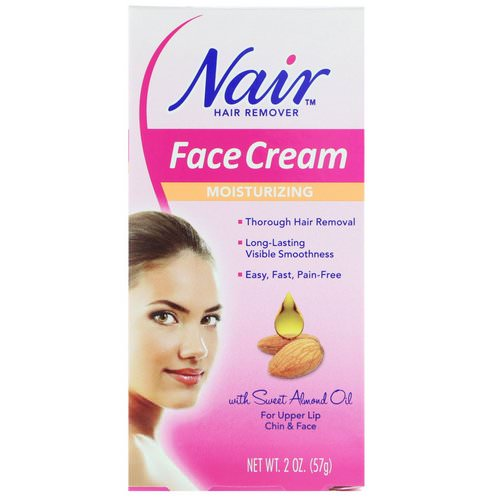 Nair, Hair Remover, Moisturizing Face Cream, For Upper Lip, Chin and Face, 2 oz (57 g) فوائد