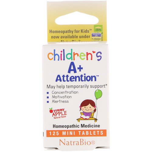 NatraBio, Children's A+ Attention, Yummy Apple, 125 Mini Tablets فوائد