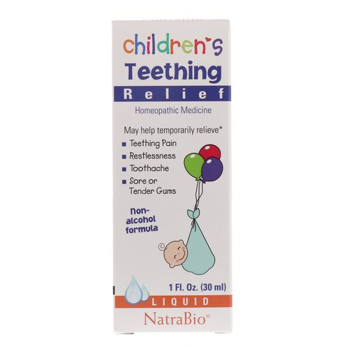 NatraBio, Children's Teething Relief, Non-Alcohol Formula, Liquid, 1 fl oz (30 ml) فوائد