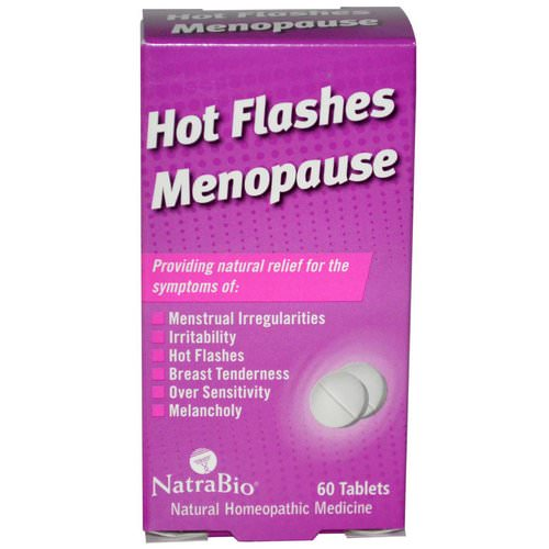 NatraBio, Hot Flashes Menopause, 60 Tablets فوائد