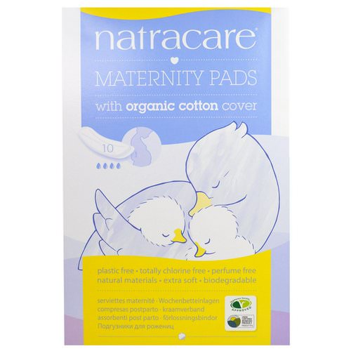 Natracare, Maternity Pads with Organic Cotton Cover, 10 Pads فوائد