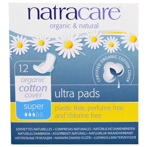 Natracare, Ultra Pads, Organic Cotton Cover, Super, 12 Pads فوائد