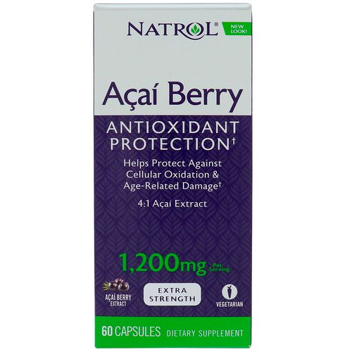 Natrol, AcaiBerry, Super Strength, 1,200 mg, 60 Capsules فوائد