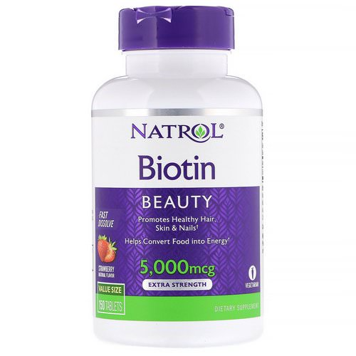 Natrol, Biotin, Extra Strength, Strawberry, 5,000 mcg, 150 Tablets فوائد