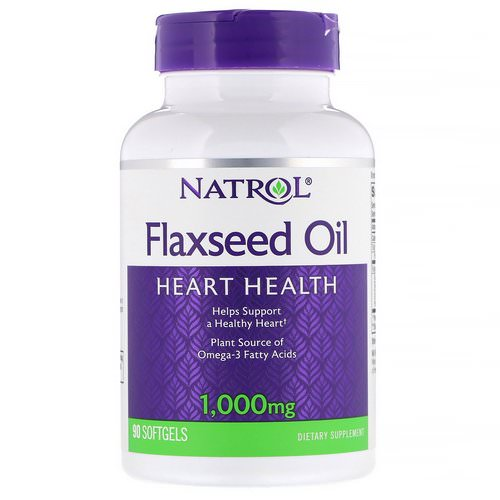 Natrol, Flaxseed Oil, Heart Health, 1,000 mg, 90 Softgels فوائد