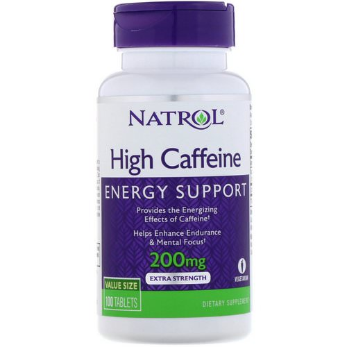 Natrol, High Caffeine, Extra Strength, 200 mg, 100 Tablets فوائد