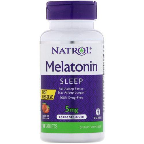 Natrol, Melatonin, Fast Dissolve, Extra Strength, Strawberry, 5 mg, 90 Tablets فوائد