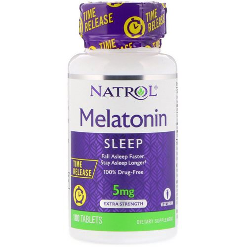 Natrol, Melatonin, Time Release, Extra Strength, 5 mg, 100 Tablets فوائد
