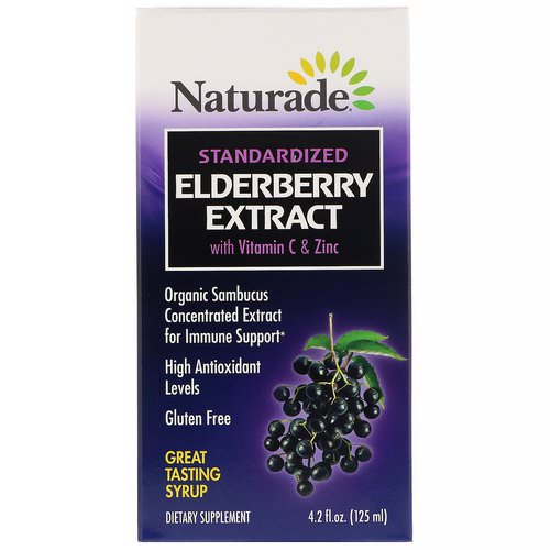 Naturade, Standardized Elderberry Extract Syrup with Vitamin C & Zinc, 4.2 fl oz (125 ml) فوائد