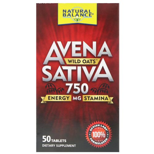 Natural Balance, Avena Sativa, Wild Oats, 750 mg, 50 Tablets فوائد