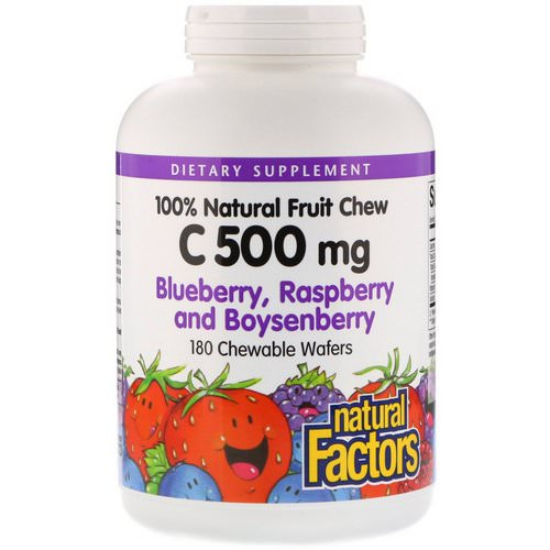 Natural Factors, 100% Natural Fruit Chew C, Blueberry, Raspberry and Boysenberry, 500 mg, 180 Chewable Wafers فوائد