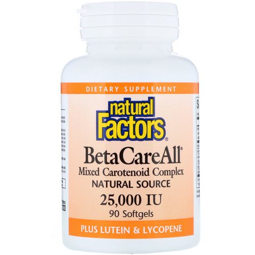 Natural Factors, BetaCareAll plus Lutein & Lycopene, 25,000 IU, 90 Softgels فوائد