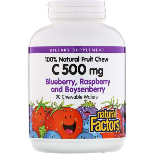Natural Factors, 100% Natural Fruit Chew C, Blueberry, Raspberry and Boysenberry, 500 mg, 90 Chewable Wafers فوائد