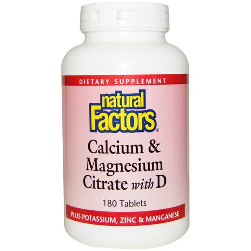 Natural Factors, Calcium & Magnesium Citrate, With D, 180 Tablets فوائد